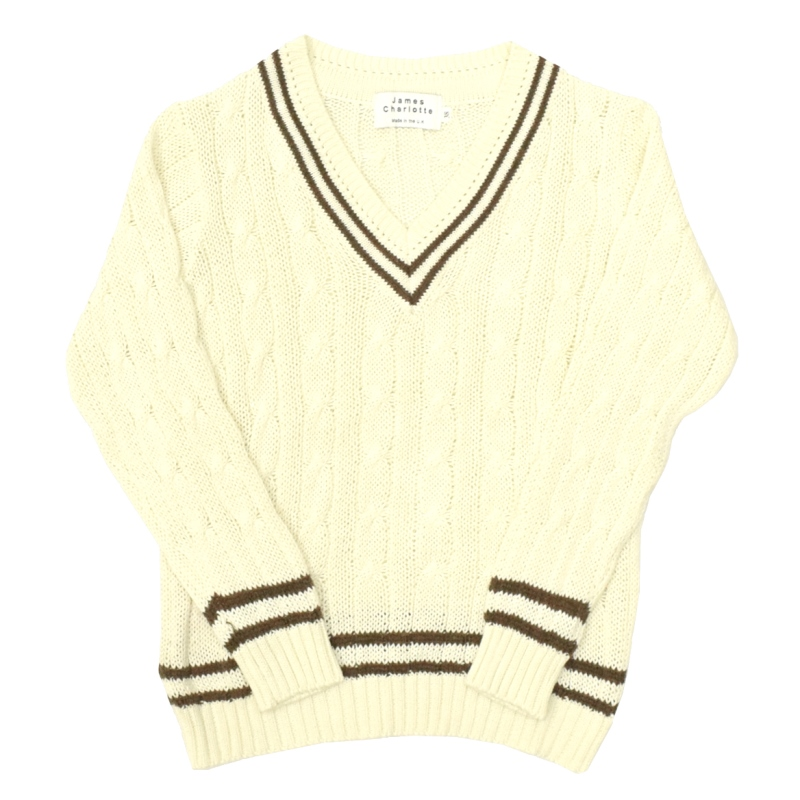 <br>JAMES CHARLOTTE(ジェームスシャルロット) COTTON CRICKET SWEATER(コットン クリケットセーター) NATURAL/BROWN
