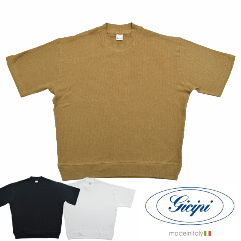 <br>【3 COLORS】GICIPI(ジチピ) 【MADE ITALY】S/S MOCK NECK T-SHIRTS