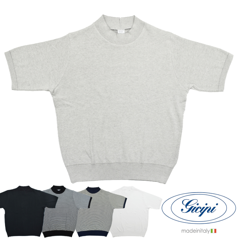 <br>【5 COLORS】GICIPI(ジチピ) 【MADE ITALY】S/S MOCK NECK T-SHIRTS