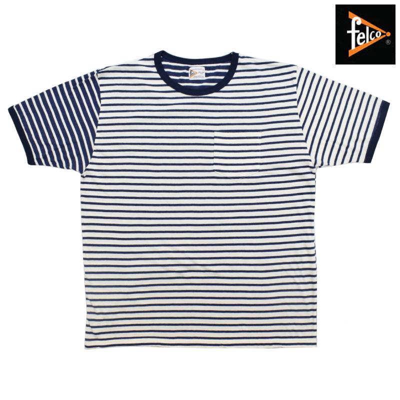 <br>FELCO(フェルコ) S/S C/N RINGER POCKET T-SHIRTS(半袖クルーネックリンガーポケットTシャツ) CRAZY BORDER