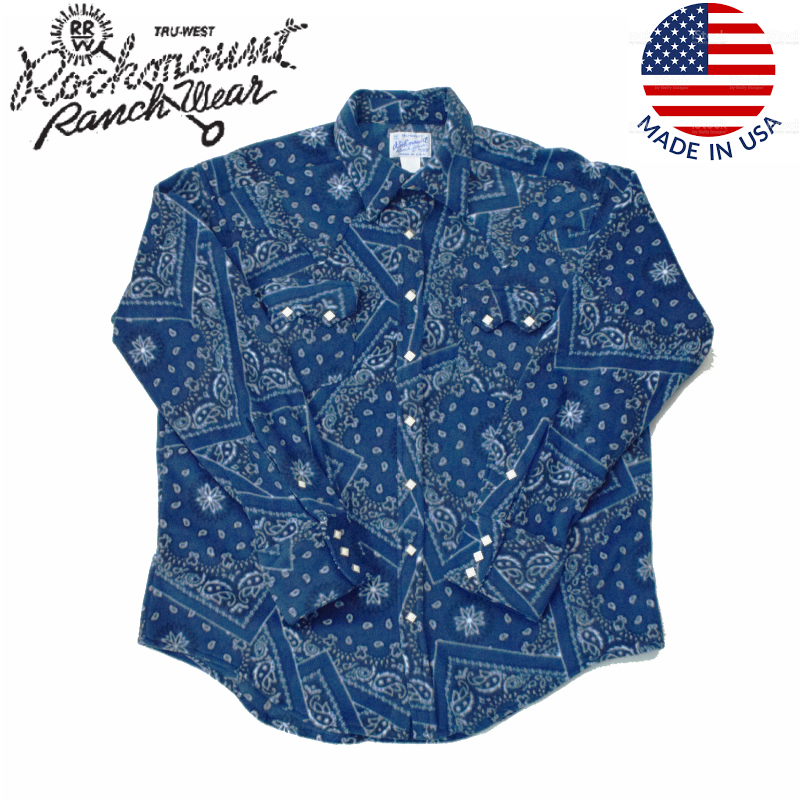 <br>ROCKMOUNT(ロックマウント)【MADE IN USA】 FLEECE WESTERN SHIRTS(アメリカ製 フリース ウエスタン シャツ) BLUE BANDANA